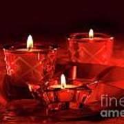 Votive Candles On Dark Red Background Poster