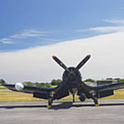 Vought F4u Corsair Fighter Plane On Runway Canvas Photo Poster Print Poster