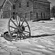 Wagon Wheel In Winter Poster