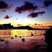 Waikiki Lagoon Dawn Poster
