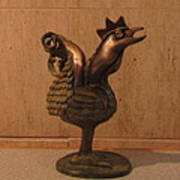 Wakeup Call Rooster Bronze Sculpture With Beak Feathers Tail Brass And Opaque Surface  Poster