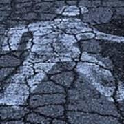 Walking Man In Cyan Poster
