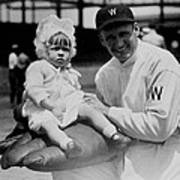 Walter Johnson Holding A Baby - C 1924 Poster