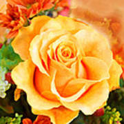 Water Color Yellow Rose With Orange Flower Accents Poster