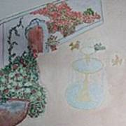 Water Fountain Amidst Garden Poster