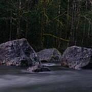 Water Moving Around Rock Poster