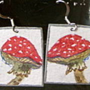 Watercolor Earrings Amanita Poster