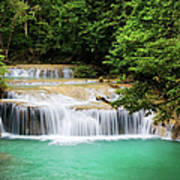 Waterfall In Tropical Forest Poster