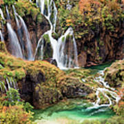 Waterfalls In Autumn Scenery Poster