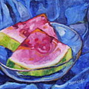 Watermelon On Blue Poster