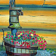 Waterpump And Petunias Poster by Amy Reisland-Speer