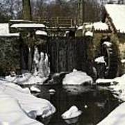 Waterwheel And Stream In Winter Poster