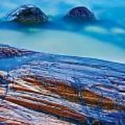 Waves Crashing On Rocky Shoreline Poster