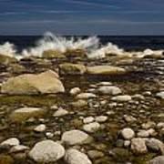 Waves Hitting Rocks, Anchor Brook Poster