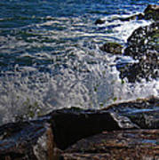Waves Meet Jetty Poster