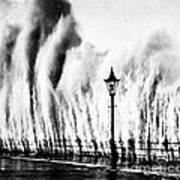 Waves Smashing Seawall, 1938 Poster