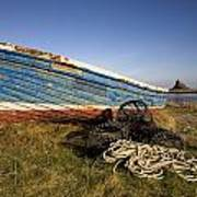 Weathered Fishing Boat On Shore, Holy Poster