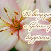 Wedding Happiness Greeting Card - Lilies Poster