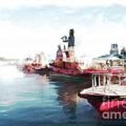 Wellington Harbour Tugs At Anchor Waterloo Quay Poster