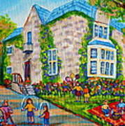 Westmount Birthday Party-montreal Urban Scene-little Girls Playing Poster