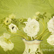 White Anemonies And Ranunculus On Green Poster