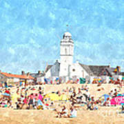 White Church At The Sea Poster