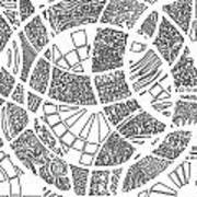 White Doodle Circles Poster