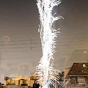 White Fireworks Poster