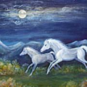 White Horses In Moonlight Poster by Maureen Ida Farley