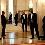 White House Butlers Watch As President Poster
