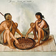 White: Native Americans Eating Poster