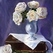 White Roses In A Silver Vase Poster