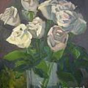 White Roses Poster by Lilibeth Andre