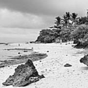 White Sand Beach Moal Boel Philippines Bw Poster