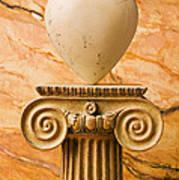 White Stone Heart On Pedestal Poster