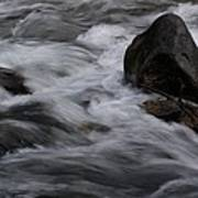 White Water Rushes Over Rocks Poster