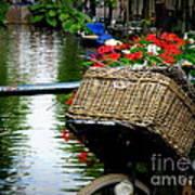 Wicker Bike Basket With Flowers Poster