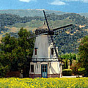 Windmill At Mission Meadows Solvang Poster