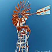 Windmill Rust Orange With Blue Sky Poster by Rebecca Margraf