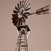 Windmill Sepia Poster