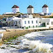 Windmills On Mykonos Poster