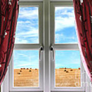 Window And Curtains With View Of Crops  Poster