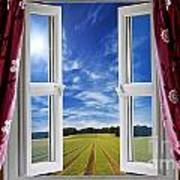 Window View Onto Arable Farmland Poster