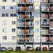 Windows  Balconies  Cars And Lawn  Of A Multiroom Apartment Hous Poster