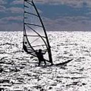 windsurfer rides the water at West Dennis Beach on Cape Cod Poster