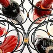 Wine Bottles In Curved Wine Rack Poster