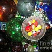 Wine Glass And Marbles Poster