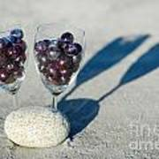 Wine Glass With Grapes Poster