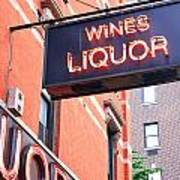 Wines And Spirits Sign Poster