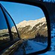 Winter Landscape Seen Through A Car Mirror Poster